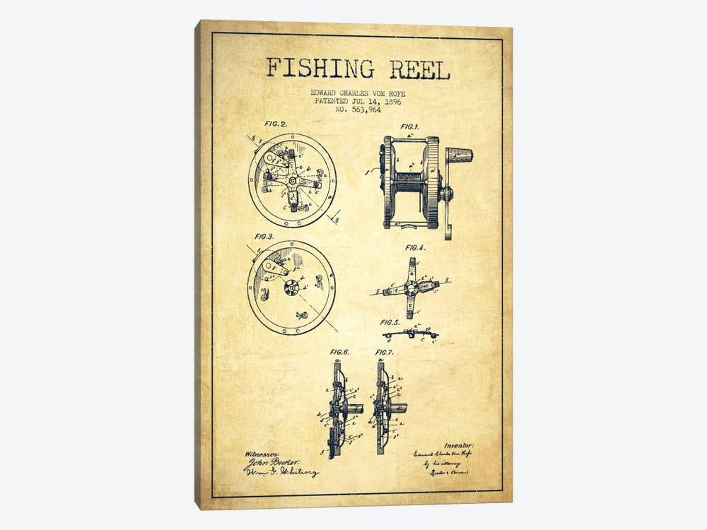 Fishing Reel Vintage Patent Blueprint by Aged Pixel 1-piece Canvas Artwork