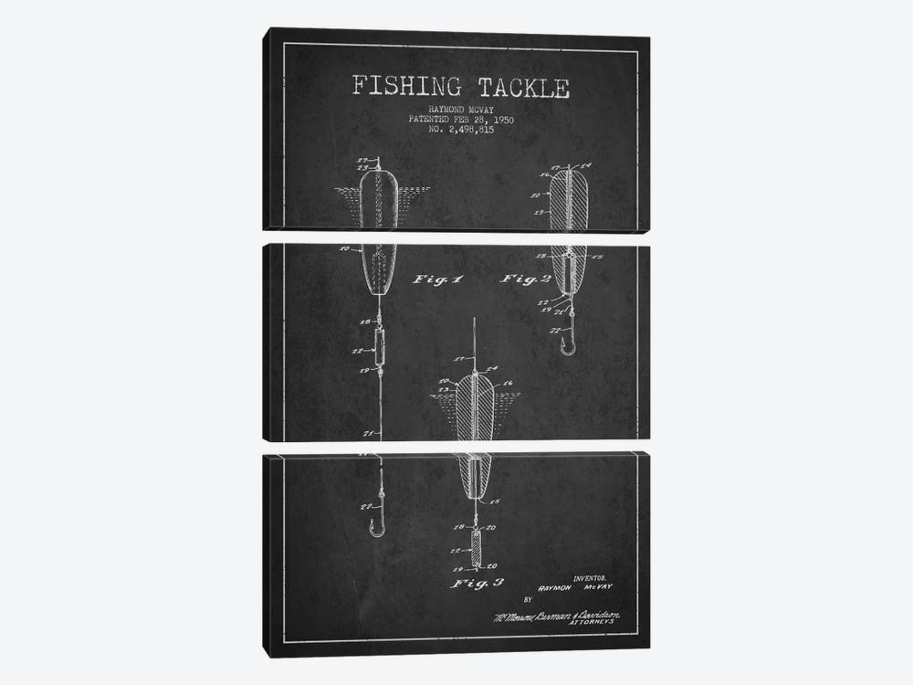 Fishing Tackle Dark Patent Blueprint by Aged Pixel 3-piece Canvas Print