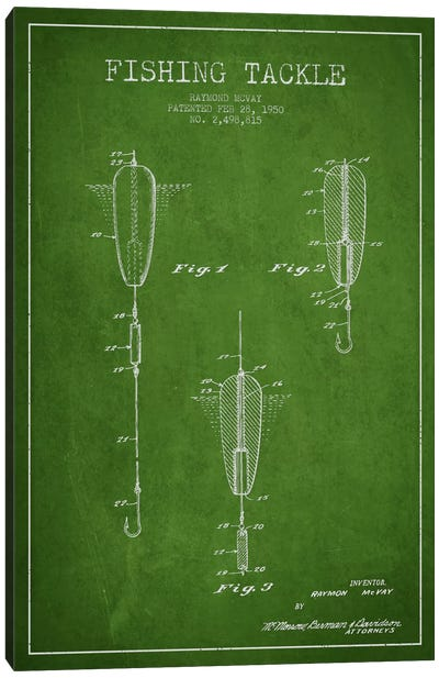 Fishing Tackle Green Patent Blueprint Canvas Art Print