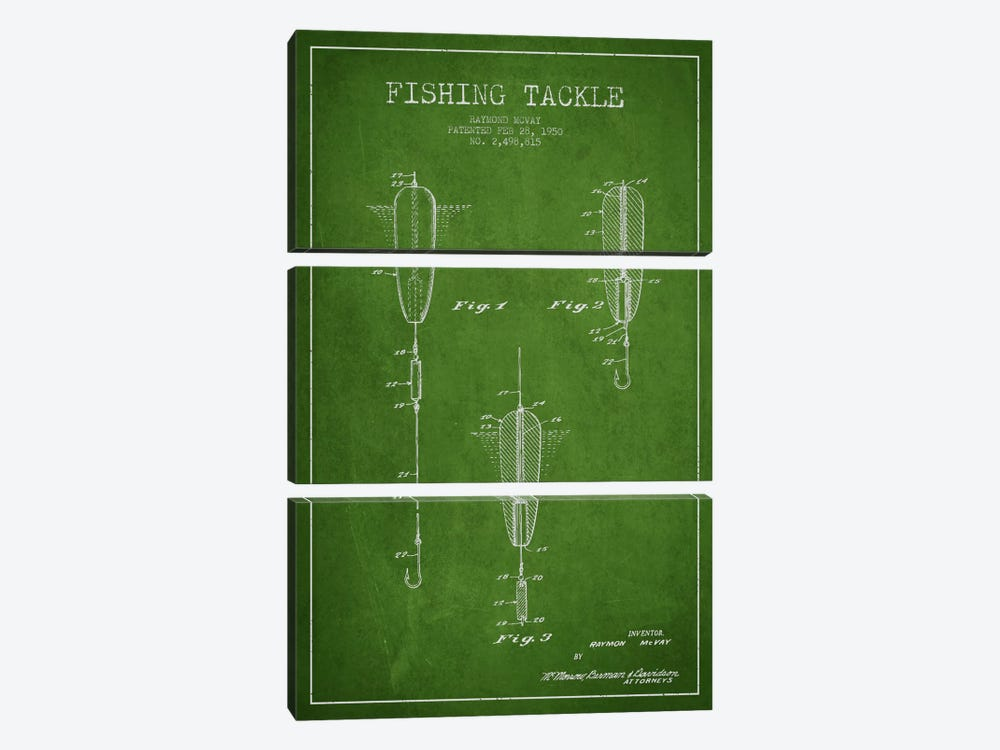 Fishing Tackle Green Patent Blueprint by Aged Pixel 3-piece Canvas Wall Art