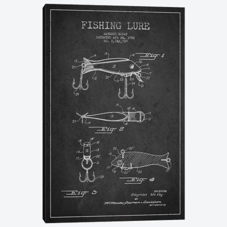 Fishing Tackle Dark Patent Blueprint Canvas Print #ADP1149} by Aged Pixel Art Print