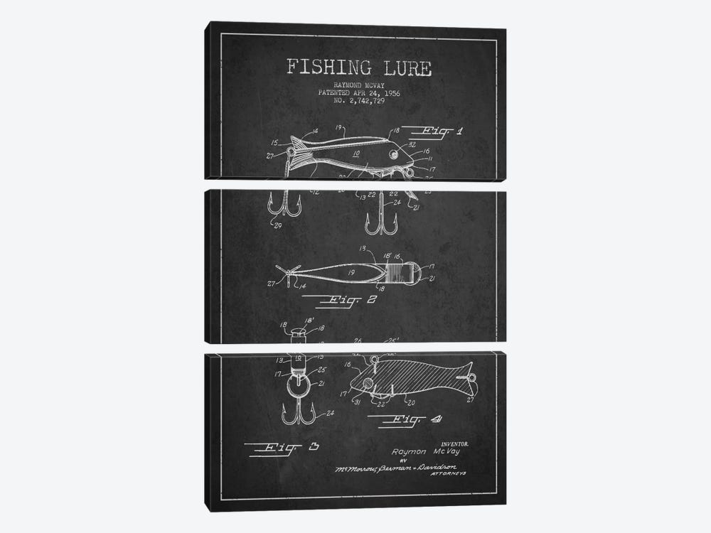 Fishing Tackle Dark Patent Blueprint by Aged Pixel 3-piece Canvas Art
