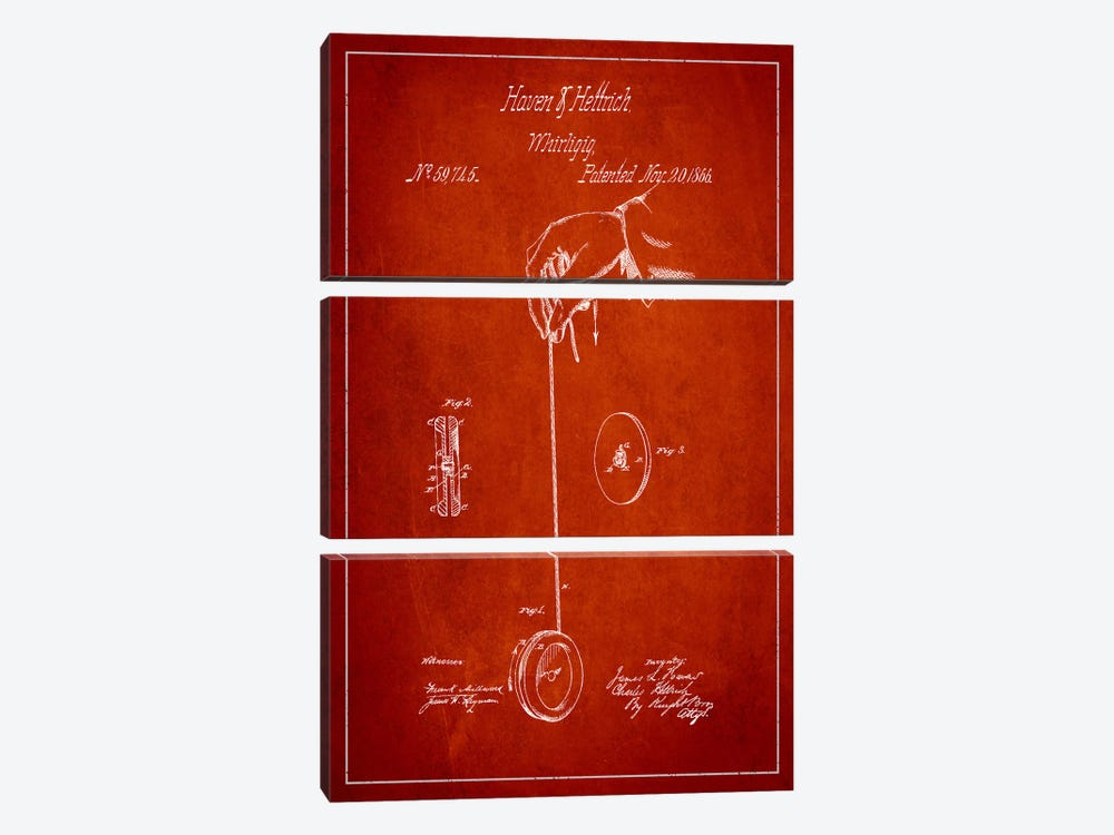 Yoyo Red Patent Blueprint by Aged Pixel 3-piece Canvas Print