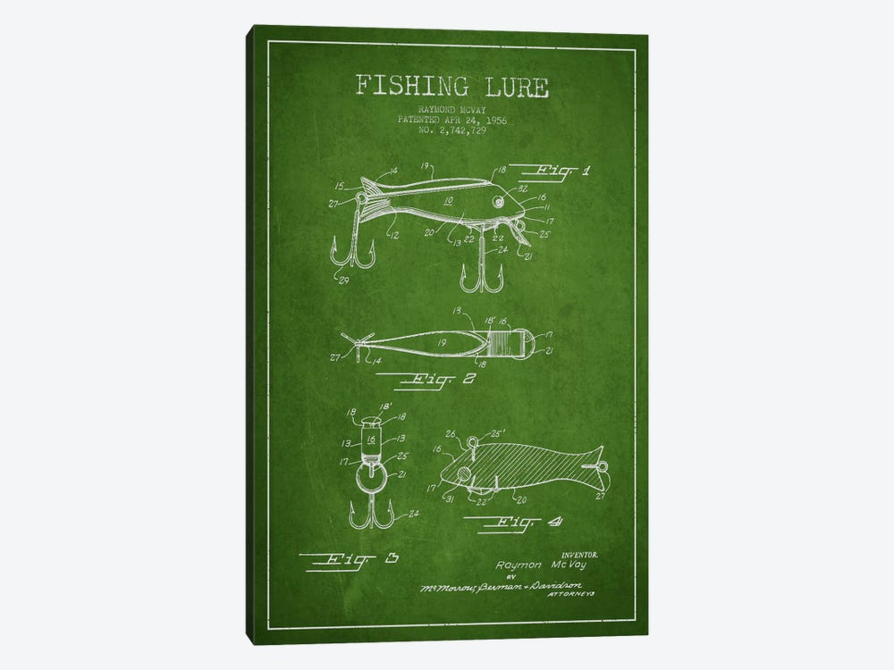 Fishing Tackle Green Patent Blueprint by Aged Pixel 1-piece Canvas Art