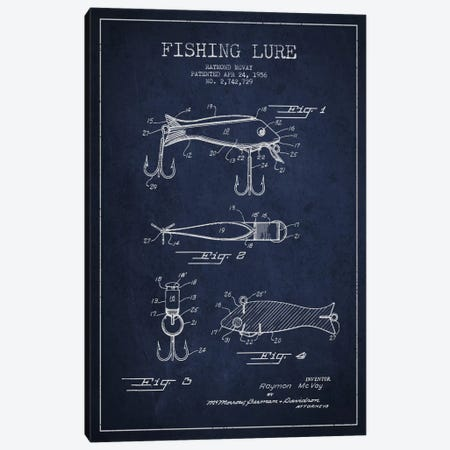 Fishing Tackle Navy Blue Patent Blueprint Canvas Print #ADP1151} by Aged Pixel Canvas Wall Art