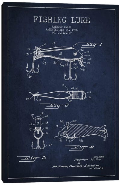 Fishing Tackle Navy Blue Patent Blueprint Canvas Art Print