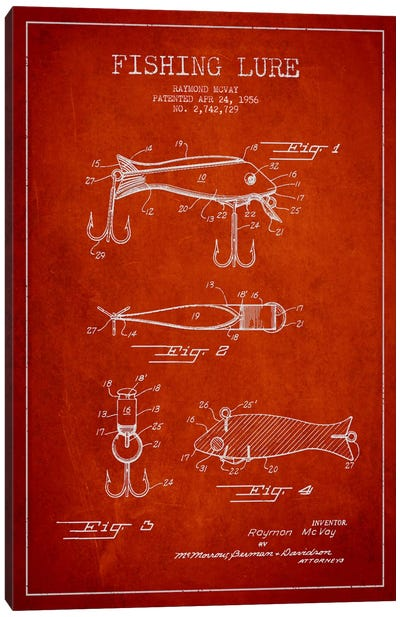 Fishing Tackle Red Patent Blueprint Canvas Art Print