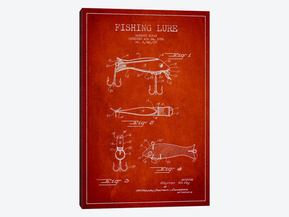 Fishing Tackle Red Patent Blueprint by Aged Pixel 1-piece Canvas Art