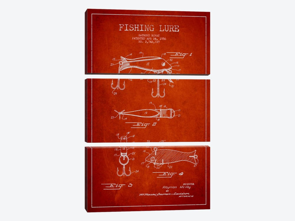 Fishing Tackle Red Patent Blueprint by Aged Pixel 3-piece Canvas Wall Art