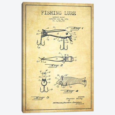 Fishing Tackle Vintage Patent Blueprint Canvas Print #ADP1153} by Aged Pixel Canvas Artwork