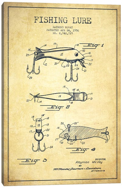 Fishing Tackle Vintage Patent Blueprint Canvas Art Print