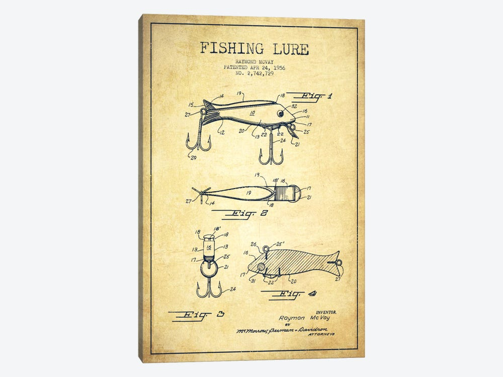 Fishing Tackle Vintage Patent Blueprint by Aged Pixel 1-piece Art Print