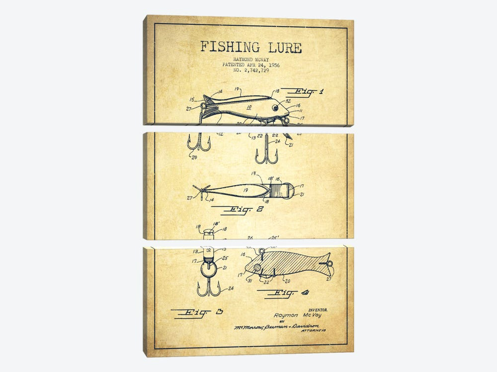 Fishing Tackle Vintage Patent Blueprint by Aged Pixel 3-piece Art Print