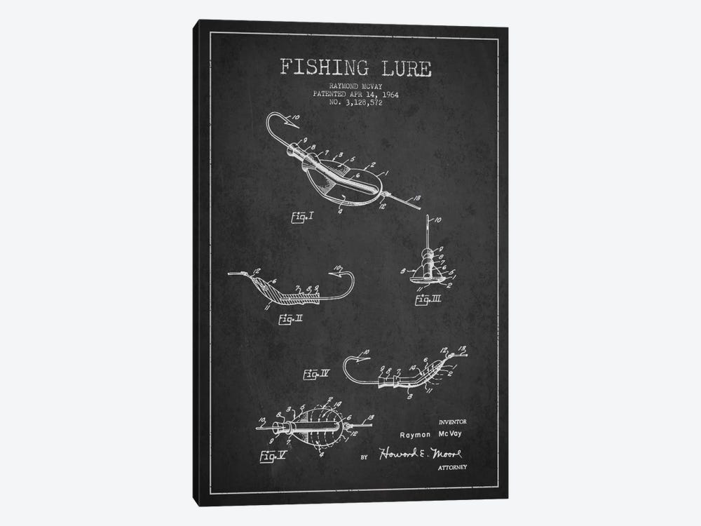Fishing Tackle Dark Patent Blueprint by Aged Pixel 1-piece Canvas Artwork