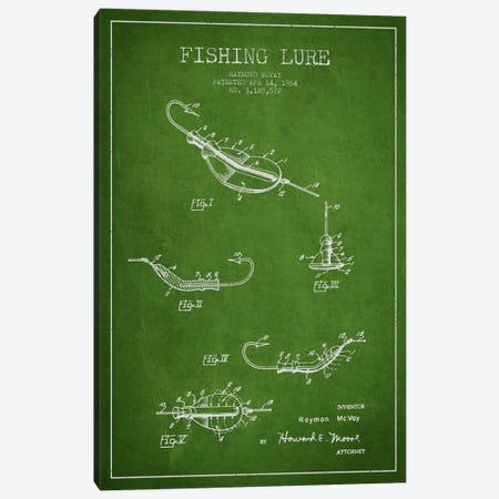 Fishing Tackle Green Patent Blueprint Canvas Print #ADP1155} by Aged Pixel Art Print