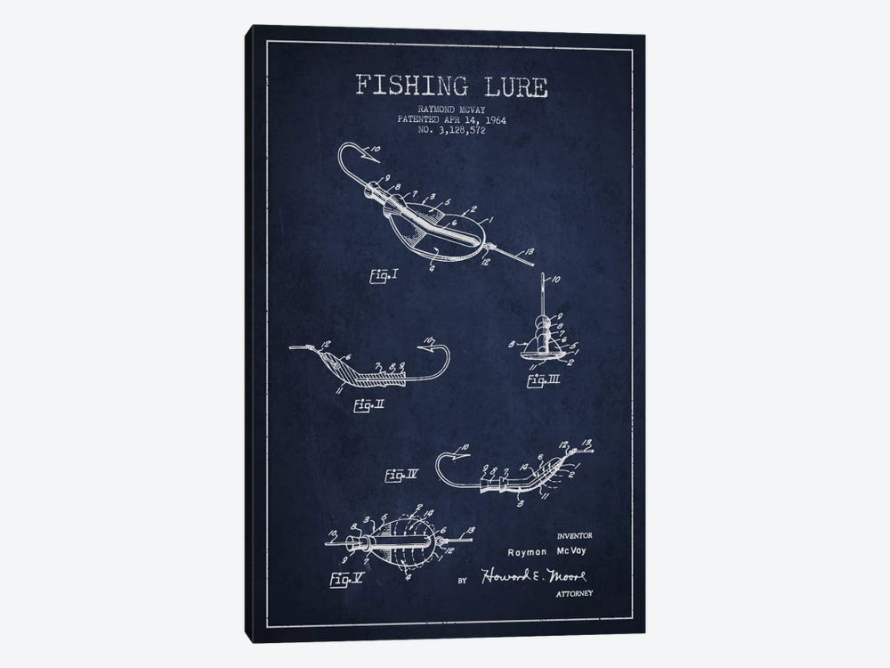 Fishing Tackle Navy Blue Patent Blueprint by Aged Pixel 1-piece Canvas Artwork