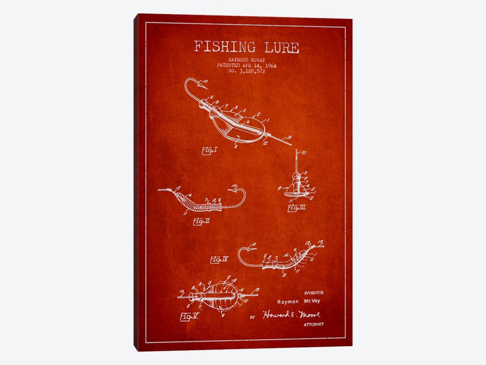 Fishing Tackle Red Patent Blueprint by Aged Pixel 1-piece Art Print