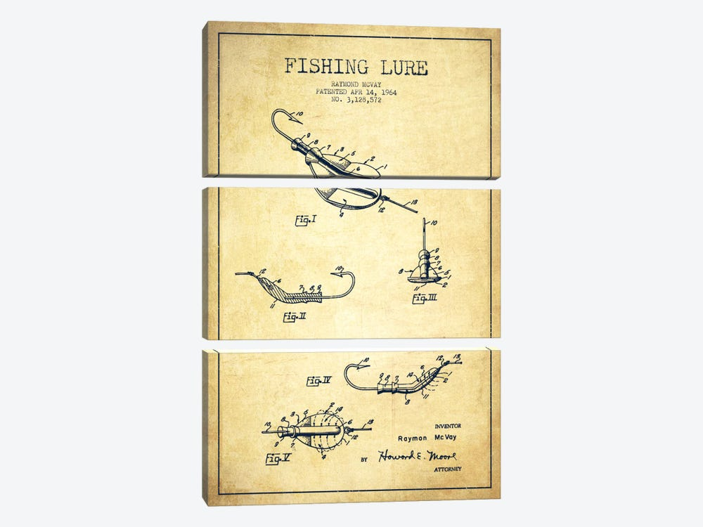 Fishing Tackle Vintage Patent Blueprint by Aged Pixel 3-piece Canvas Art