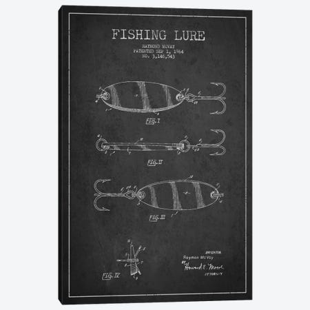 Fishing Tackle Dark Patent Blueprint Canvas Print #ADP1159} by Aged Pixel Canvas Wall Art