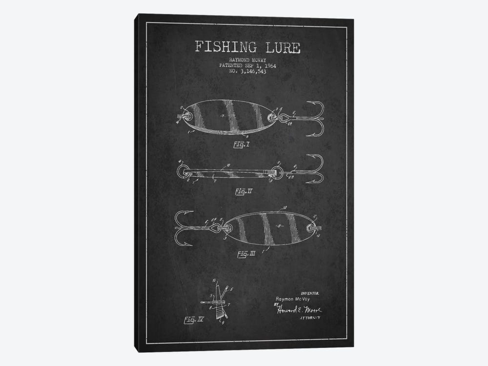 Fishing Tackle Dark Patent Blueprint by Aged Pixel 1-piece Canvas Art Print