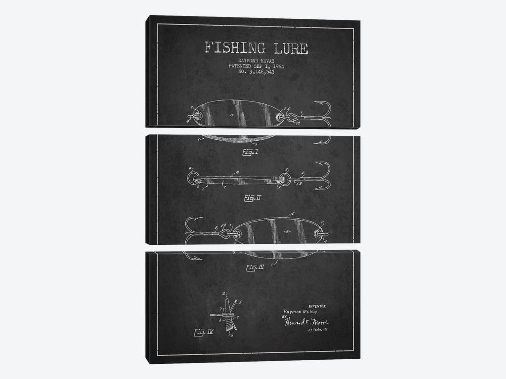 Fishing Tackle Dark Patent Blueprint by Aged Pixel 3-piece Art Print