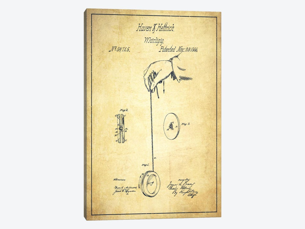 Yoyo Vintage Patent Blueprint by Aged Pixel 1-piece Canvas Wall Art