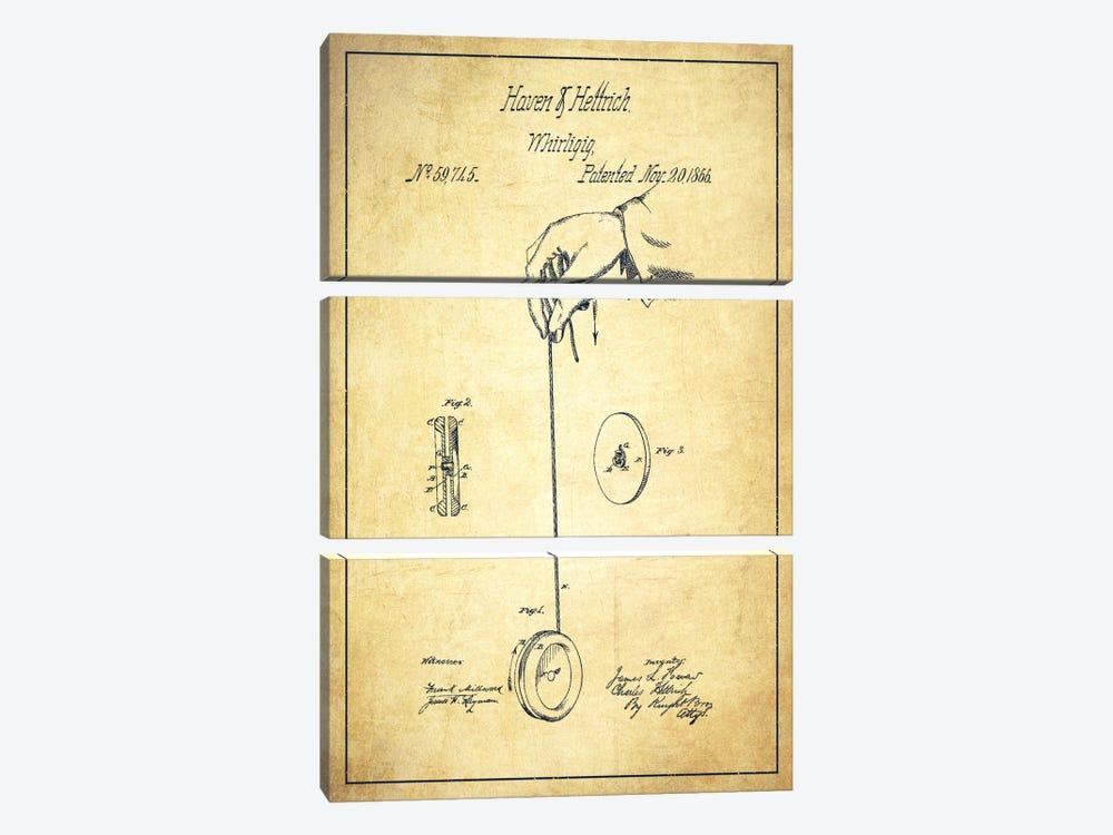Yoyo Vintage Patent Blueprint by Aged Pixel 3-piece Canvas Artwork