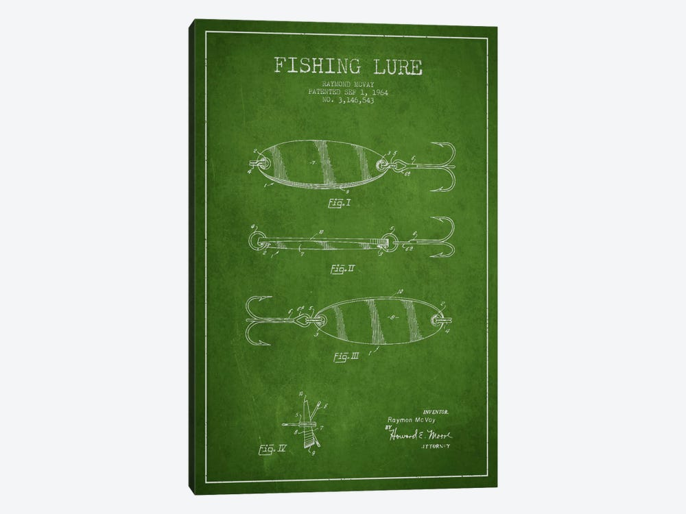 Fishing Tackle Green Patent Blueprint by Aged Pixel 1-piece Canvas Print