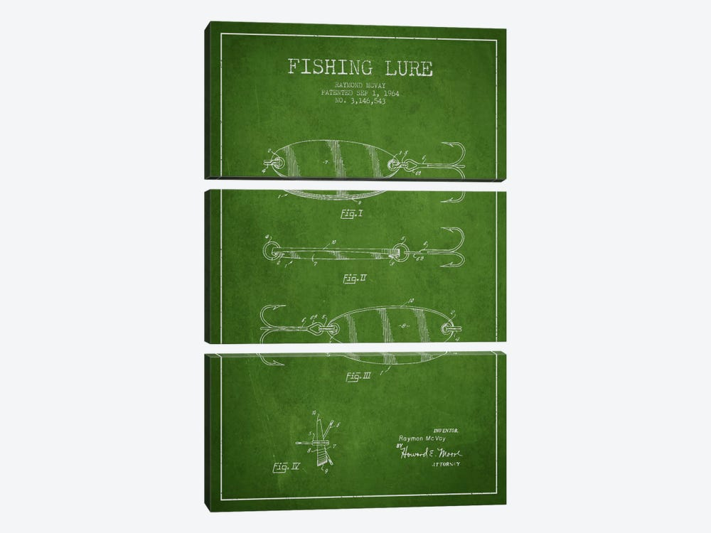 Fishing Tackle Green Patent Blueprint by Aged Pixel 3-piece Canvas Art Print