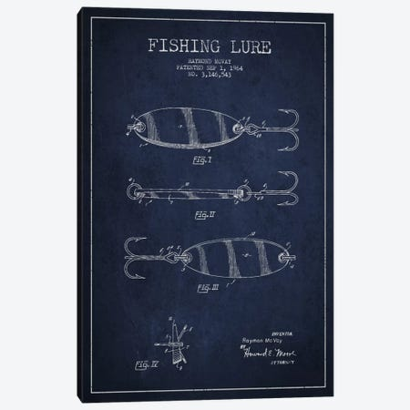 Fishing Tackle Navy Blue Patent Blueprint Canvas Print #ADP1161} by Aged Pixel Canvas Print
