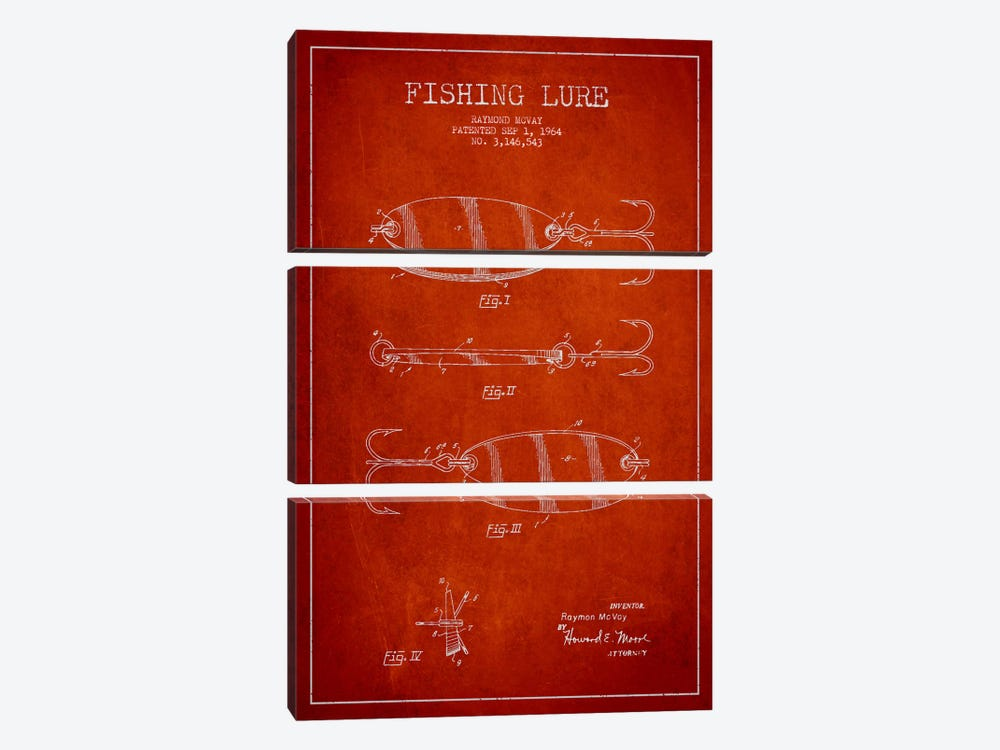 Fishing Tackle Red Patent Blueprint by Aged Pixel 3-piece Art Print