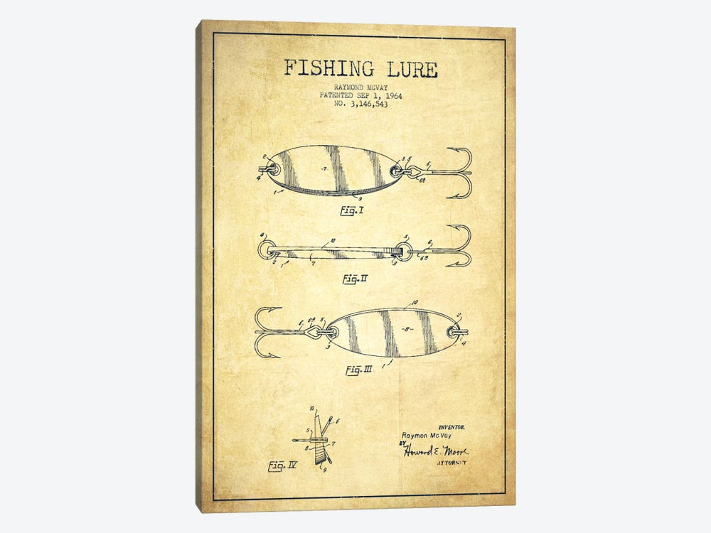 Fishing Tackle Vintage Patent Blueprint 1-piece Canvas Wall Art