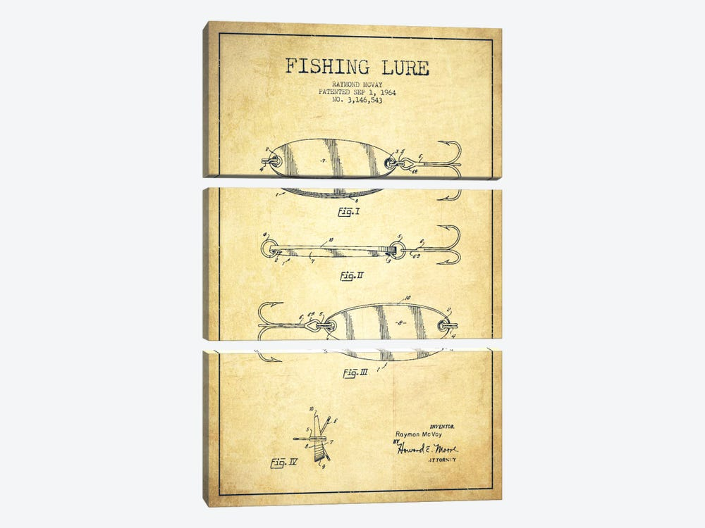 Fishing Tackle Vintage Patent Blueprint 3-piece Canvas Wall Art