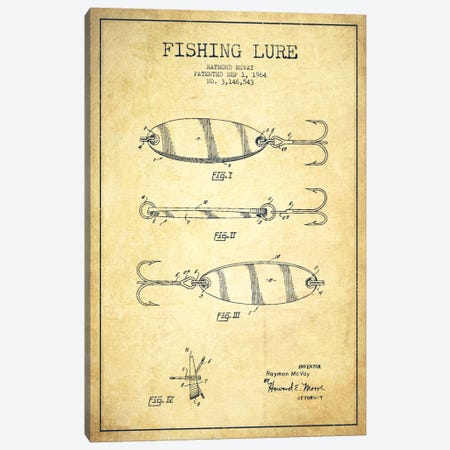 Fishing Tackle Vintage Patent Blueprint Canvas Print #ADP1163} by Aged Pixel Canvas Art Print