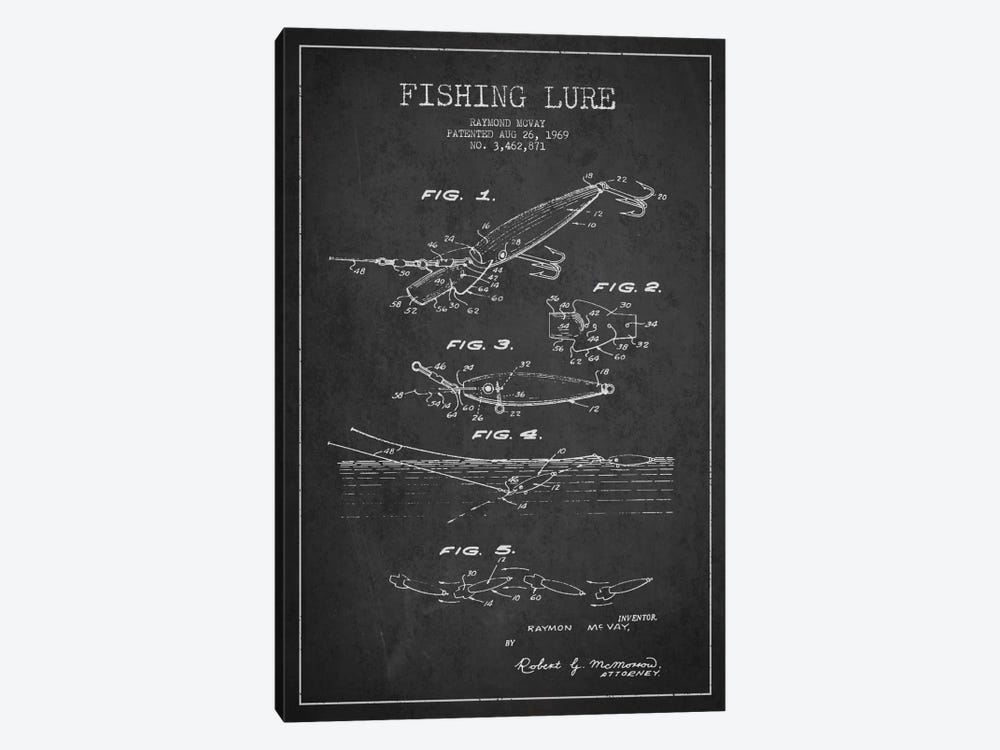 Fishing Tackle Dark Patent Blueprint by Aged Pixel 1-piece Art Print