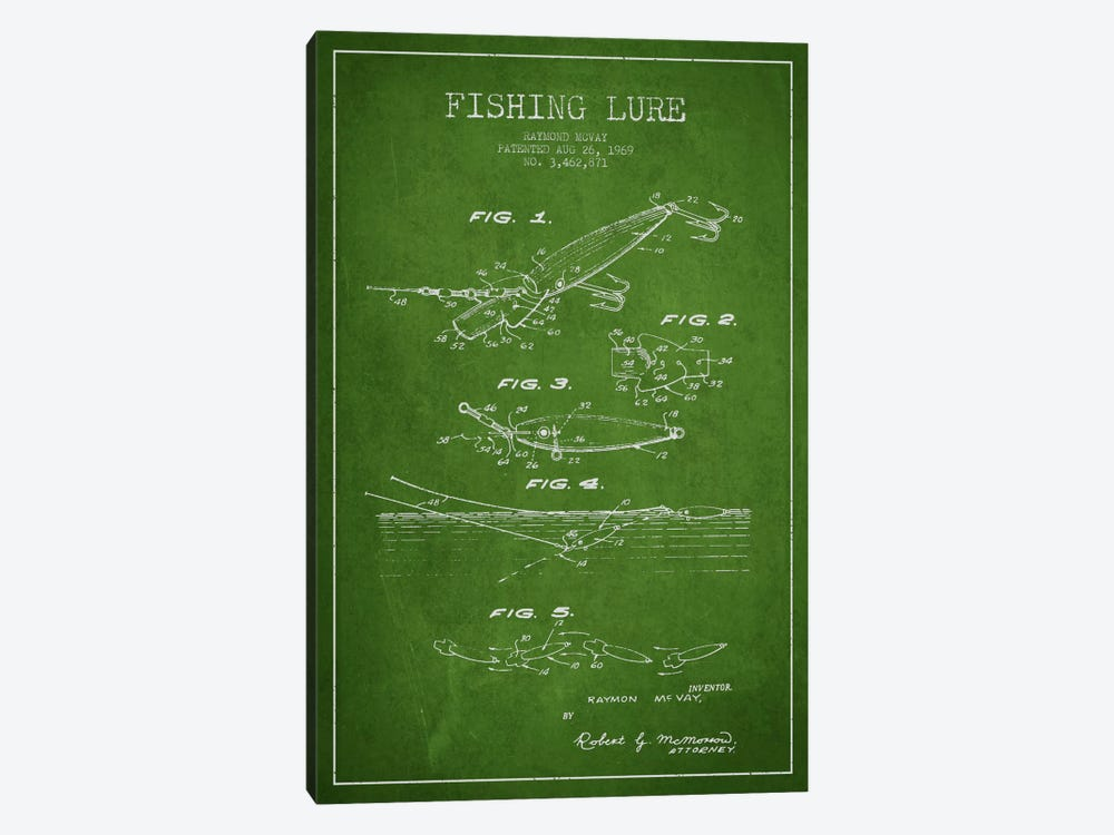 Fishing Tackle Green Patent Blueprint by Aged Pixel 1-piece Canvas Artwork