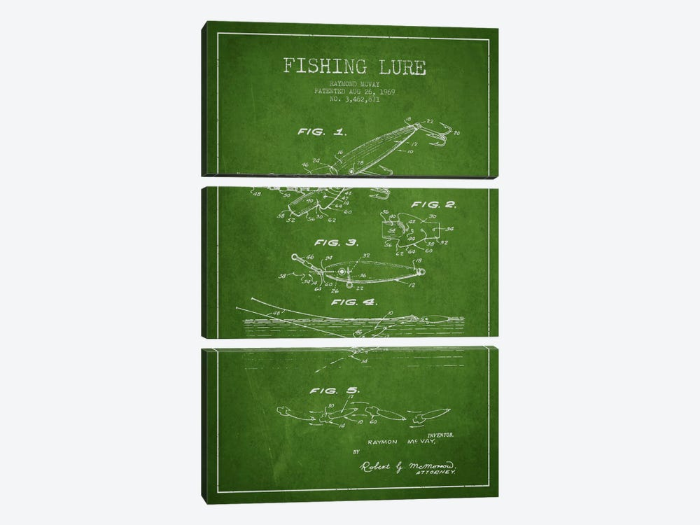 Fishing Tackle Green Patent Blueprint by Aged Pixel 3-piece Canvas Artwork