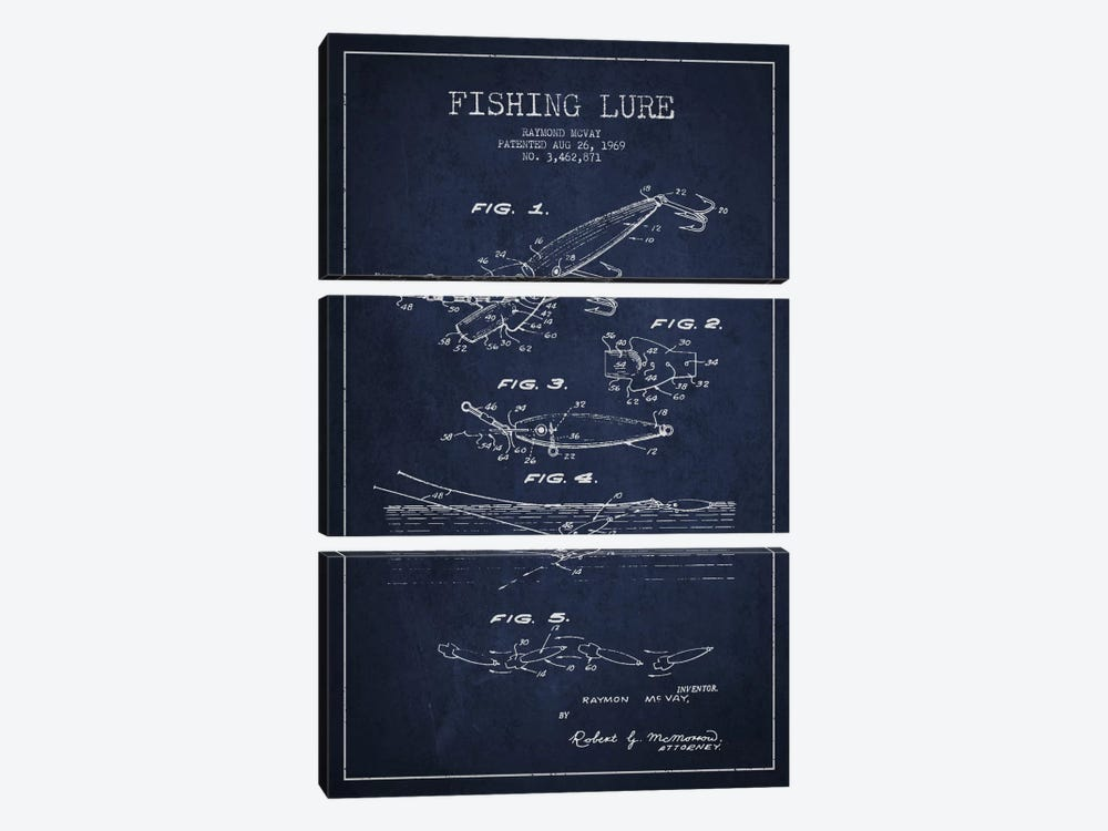 Fishing Tackle Navy Blue Patent Blueprint by Aged Pixel 3-piece Art Print