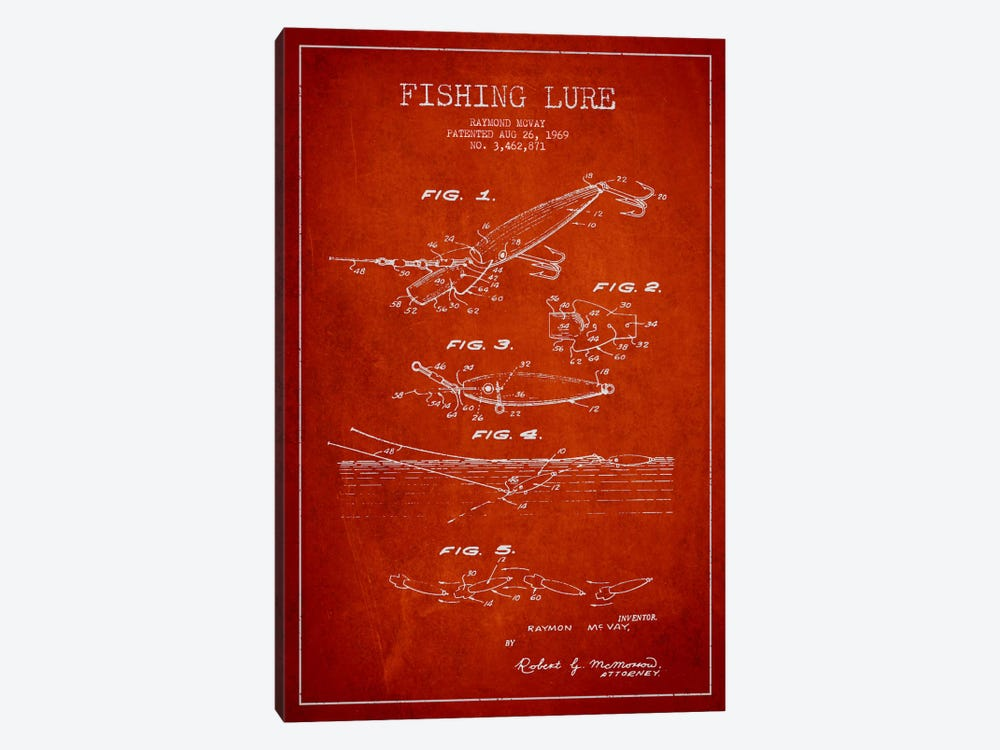Fishing Tackle Red Patent Blueprint by Aged Pixel 1-piece Canvas Wall Art