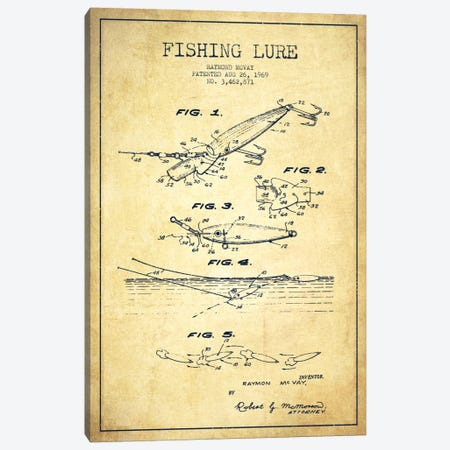 Fishing Tackle Vintage Patent Blueprint Canvas Print #ADP1168} by Aged Pixel Canvas Art Print