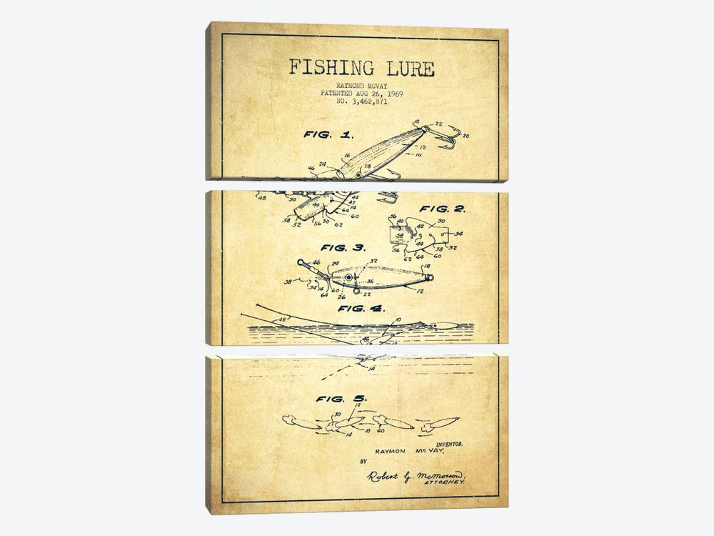 Fishing Tackle Vintage Patent Blueprint by Aged Pixel 3-piece Canvas Print