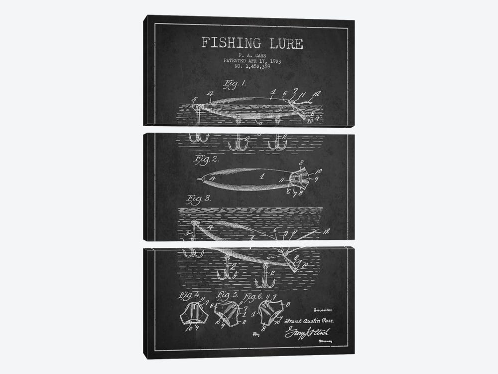 Fishing Tackle Dark Patent Blueprint by Aged Pixel 3-piece Canvas Artwork