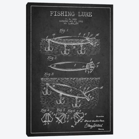 Fishing Tackle Dark Patent Blueprint Canvas Print #ADP1169} by Aged Pixel Canvas Art Print