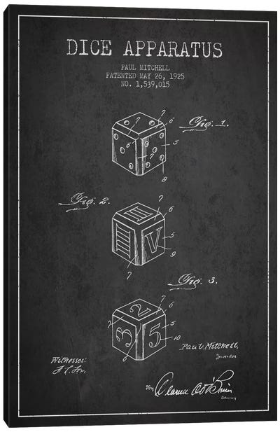Dice Dark Patent Blueprint Canvas Art Print