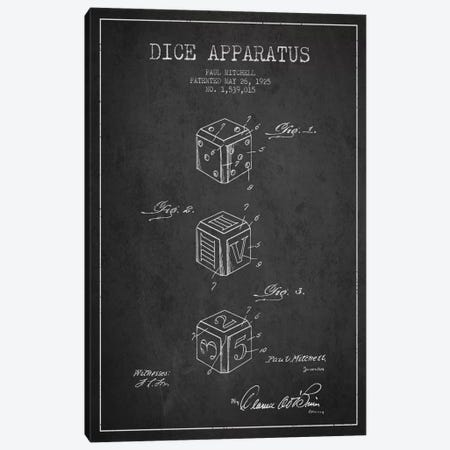 Dice Dark Patent Blueprint Canvas Print #ADP116} by Aged Pixel Canvas Art