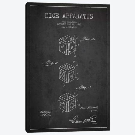 Dice Dark Patent Blueprint Canvas Print #ADP116} by Aged Pixel Canvas Art