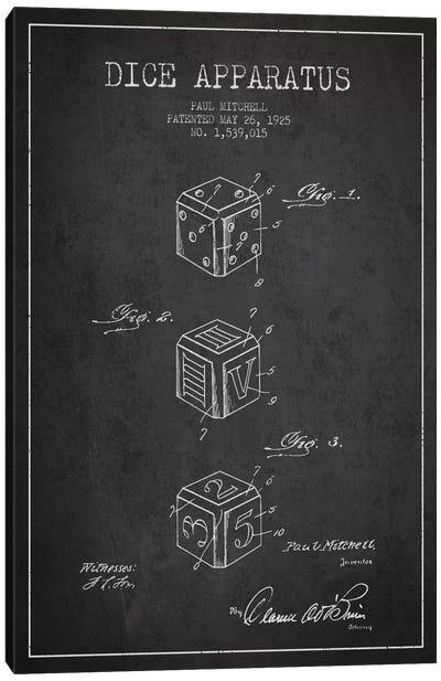 Dice Dark Patent Blueprint Canvas Art Print