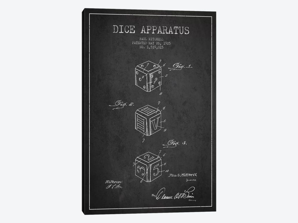 Dice Dark Patent Blueprint by Aged Pixel 1-piece Canvas Print