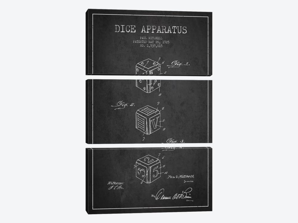 Dice Dark Patent Blueprint by Aged Pixel 3-piece Canvas Art Print