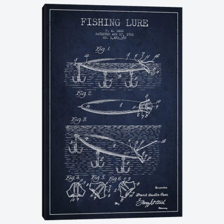Fishing Tackle Navy Blue Patent Blueprint Canvas Print #ADP1171} by Aged Pixel Canvas Artwork